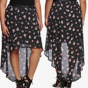 Torrid hi low skirt, black w/ polka dots & flowers
